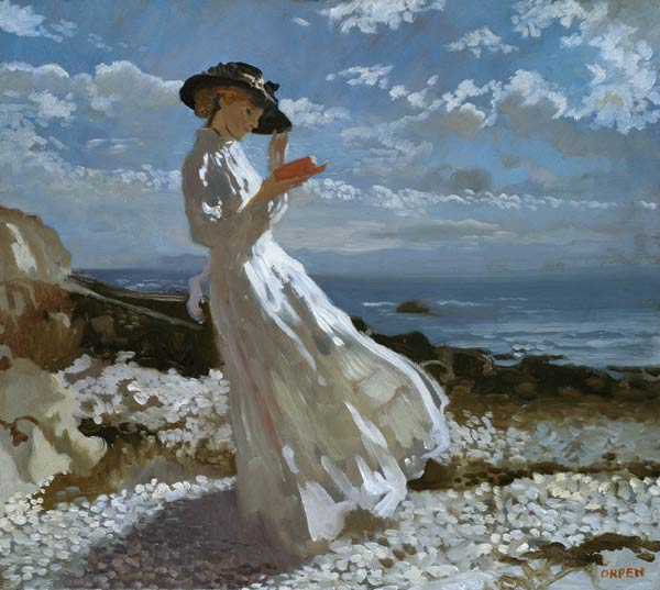Sir_William_Orpen_-_Grace_reading_at_Howth_Bay
